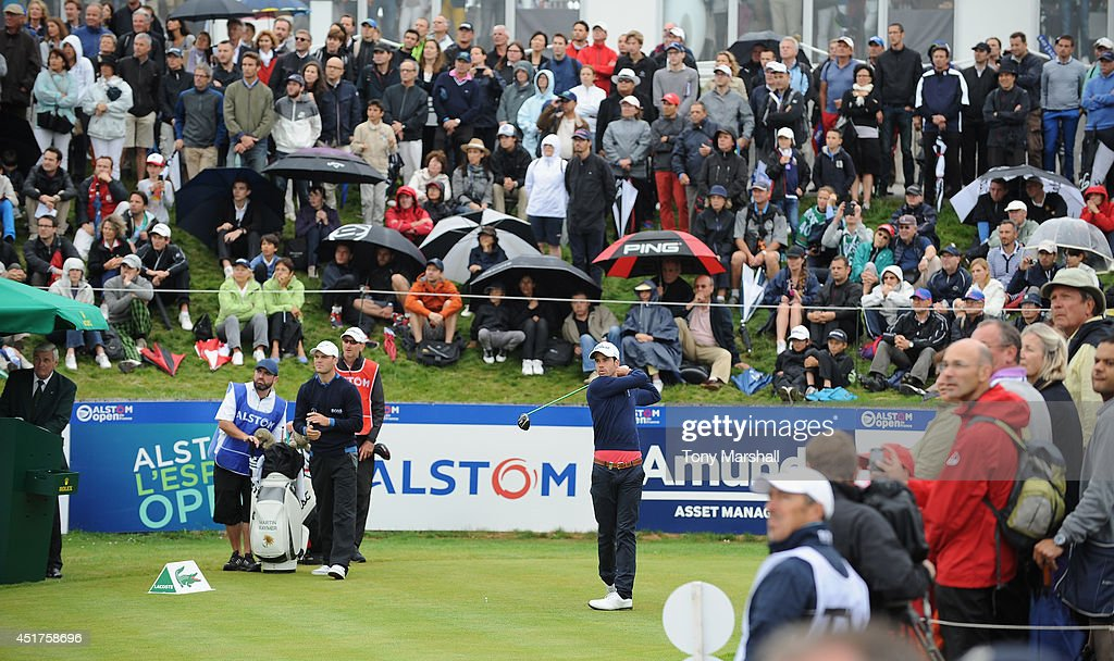 Victor Riu of France plays his first shot on the 1st tee during the Alstom Open de France - Day Four at Le Golf National on July 6, 2014 in Paris, France.