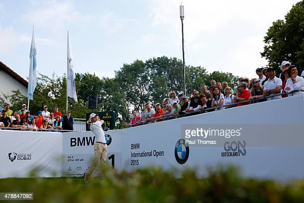 Victor Riu of France tees off during the BMW International Open day four at the Eichenried Golf Club on June 28 2015 in Munich Germany