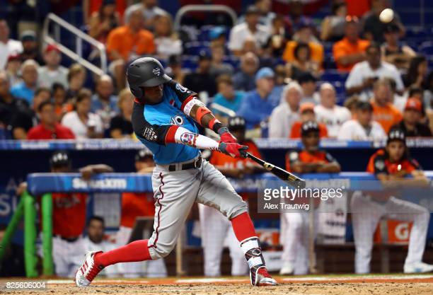 Victor Robles of the World Team bats during the SirusXM AllStar Futures Game at Marlins Park on Sunday July 9 2017 in Miami Florida