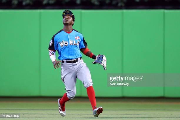 Victor Robles of the World Team tracks a fly ball during the SirusXM AllStar Futures Game at Marlins Park on Sunday July 9 2017 in Miami Florida