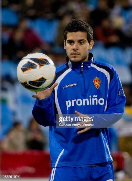 Victor Rodriguez of Real Zaragoza controls the ball during Real Zaragoza warm up prior to start the La Liga match between Real Zaragoza and Real...