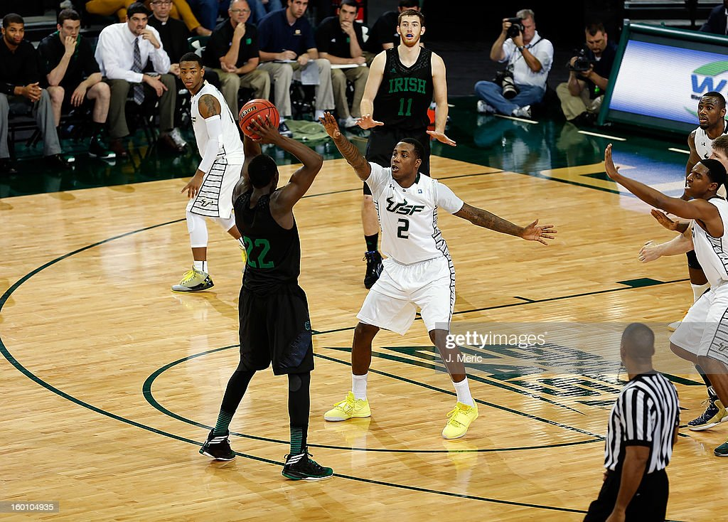 Victor Rudd #2 of the South Florida Bulls defends Jerian Grant #22 of the Notre Dame Fighting Irish during the game at the Sun Dome on January 26, 2013 in Tampa, Florida.