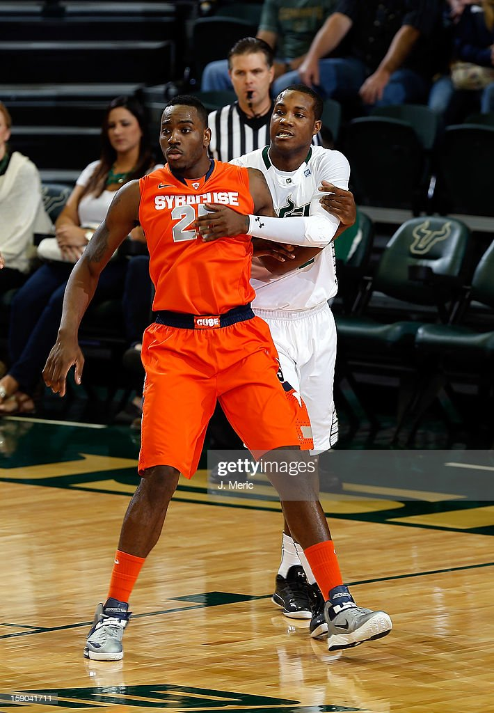 Victor Rudd #2 of the South Florida Bulls defends Rakeem Christmas #25 of the Syracuse Orange during the game at the Sun Dome on January 6, 2013 in Tampa, Florida.