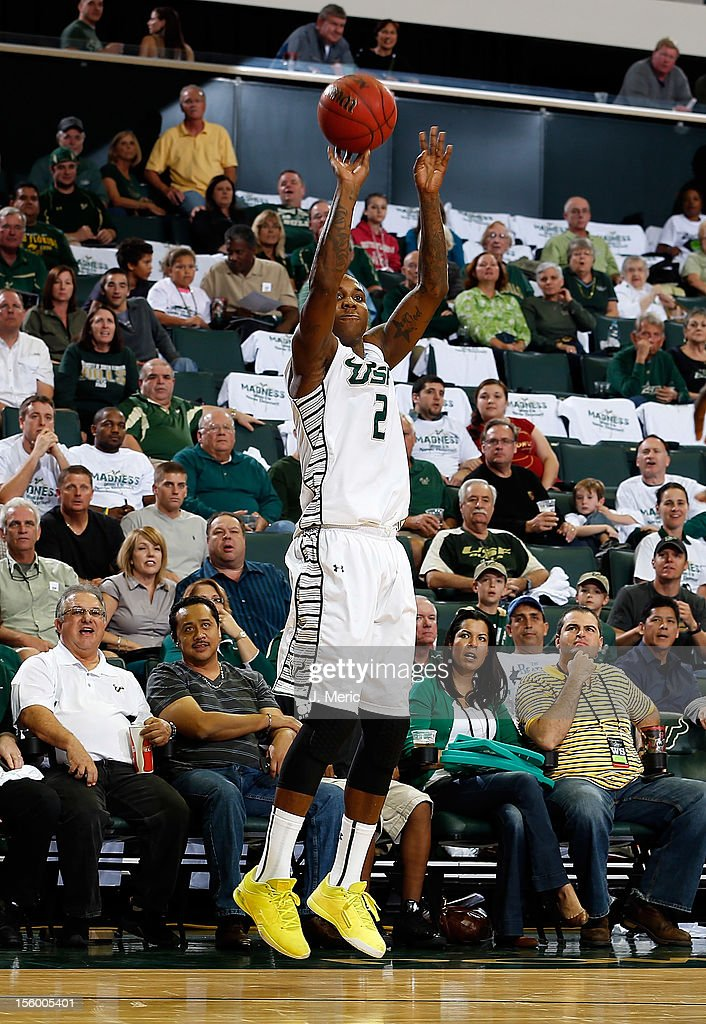 Victor Rudd #2 of the South Florida Bulls shoots against the Central Florida Knights during the game at the Sun Dome on November 10, 2012 in Tampa, Florida.