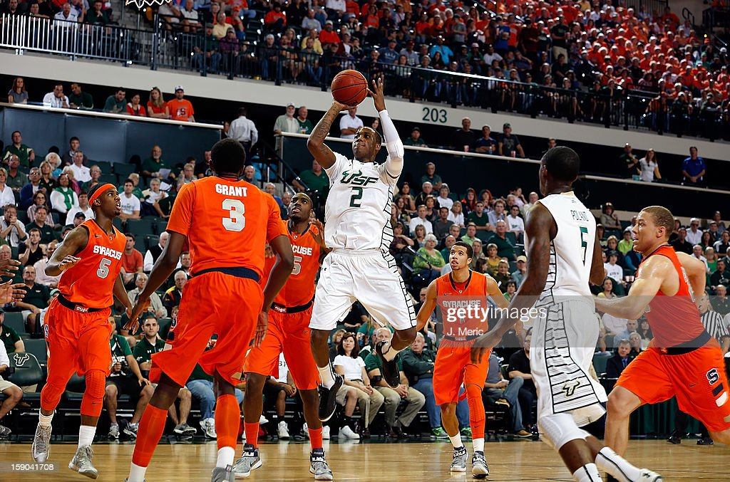 Victor Rudd #2 of the South Florida Bulls shoots against the Syracuse Orange during the game at the Sun Dome on January 6, 2013 in Tampa, Florida.