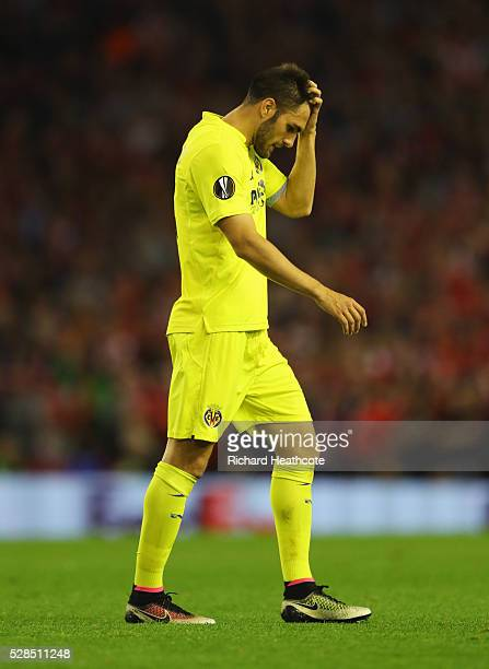 Victor Ruiz of Villarreal looks dejected as he is sent off during the UEFA Europa League semi final second leg match between Liverpool and Villarreal...