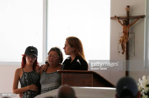 Victor Ruiz Ramos' family members get up to speak about him during his funeral service in Corozal Puerto Rico on Oct 02 2017 After Hurricane Maria...