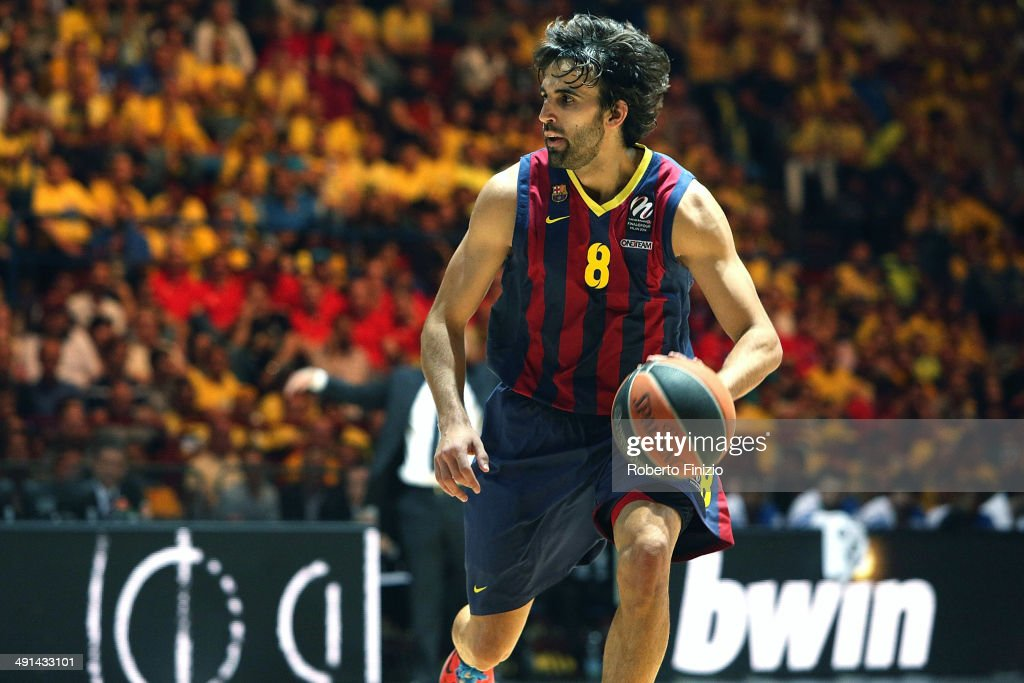 <a gi-track='captionPersonalityLinkClicked' href=/galleries/search?phrase=Victor+Sada&family=editorial&specificpeople=857539 ng-click='$event.stopPropagation()'>Victor Sada</a>, #8 in action during the Turkish Airlines EuroLeague Final Four Semi Final A between FC Barcelona v Real Madrid at Mediolanum Forum on May 16, 2014 in Milan, Italy.