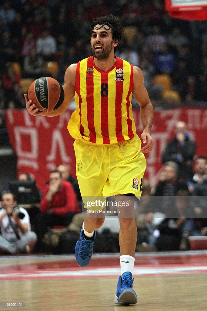 Victor Sada, #8 of FC Barcelona in action during the 2013-2014 Turkish Airlines Euroleague Top 16 Date 3 game between Olympiacos Piraeus v FC Barcelona Regal at Peace and Friendship Stadium on January 16, 2014 in Athens, Greece.