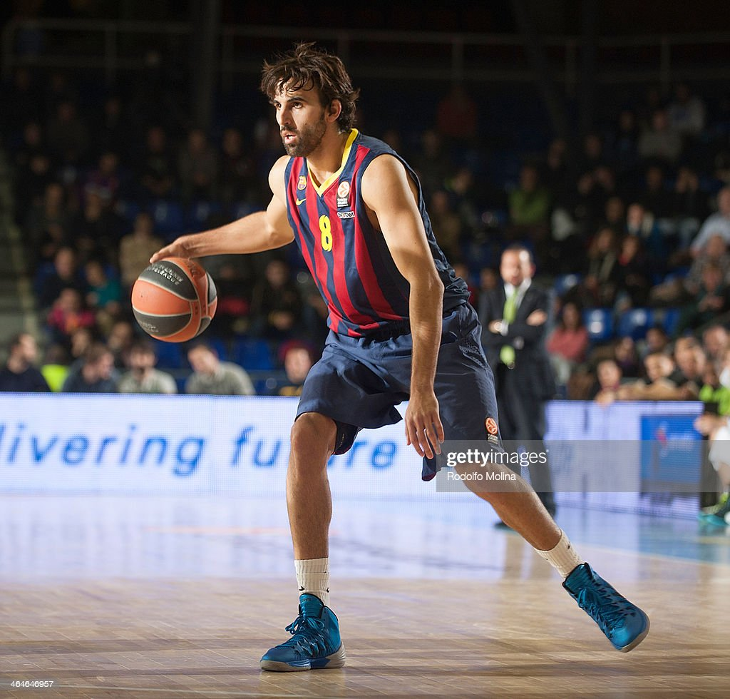 Victor Sada, #8 of FC Barcelona in action during the 2013-2014 Turkish Airlines Euroleague Top 16 Date 4 game between FC Barcelona Regal v Unicaja Malaga at Palau Blaugrana on January 23, 2014 in Barcelona, Spain.