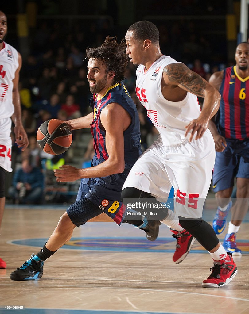 Victor Sada, #8 of FC Barcelona in action during the 2013-2014 Turkish Airlines Euroleague Top 16 Date 6 game between FC Barcelona Regal v EA7 Emporio Armani Milan at Palau Blaugrana on February 14, 2014 in Barcelona, Spain.