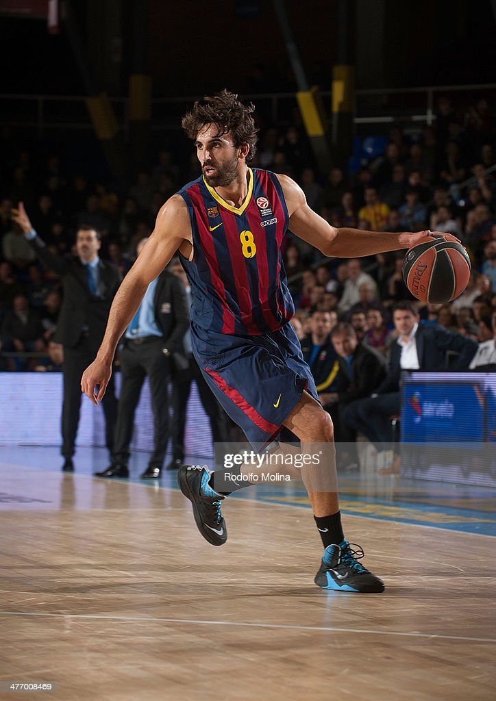 <a gi-track='captionPersonalityLinkClicked' href=/galleries/search?phrase=Victor+Sada&family=editorial&specificpeople=857539 ng-click='$event.stopPropagation()'>Victor Sada</a>, #8 of FC Barcelona in action during the 2013-2014 Turkish Airlines Euroleague Top 16 Date 9 game between FC Barcelona Regal v Fenerbahce Ulker Istanbul at Palau Blaugrana on March 6, 2014 in Barcelona, Spain.