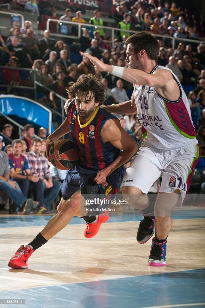 Victor Sada, #8 of FC Barcelona in action during the 2013-2014 Turkish Airlines Euroleague Top 16 Date 14 game between FC Barcelona Regal v Laboral Kutxa Vitoria at Palau Blaugrana on April 10, 2014 in Barcelona, Spain.