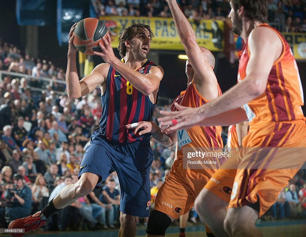 <a gi-track='captionPersonalityLinkClicked' href=/galleries/search?phrase=Victor+Sada&family=editorial&specificpeople=857539 ng-click='$event.stopPropagation()'>Victor Sada</a>, #8 of FC Barcelona in action during the Turkish Airlines Euroleague Basketball Play Off Game 1 between FC Barcelona Regal v Galatasaray Liv Hospital Istanbul at Palau Blaugrana on April 15, 2014 in Barcelona, Spain.
