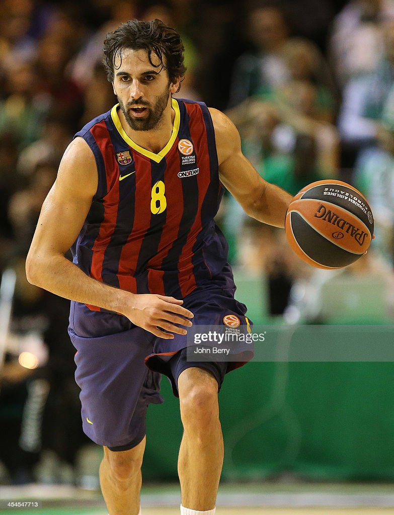 <a gi-track='captionPersonalityLinkClicked' href=/galleries/search?phrase=Victor+Sada&family=editorial&specificpeople=857539 ng-click='$event.stopPropagation()'>Victor Sada</a> of Barcelona in action during the Euroleague match between JSF Nanterre and FC Barcelona Basket at the Halle Carpentier on December 6, 2013 in Paris, France.