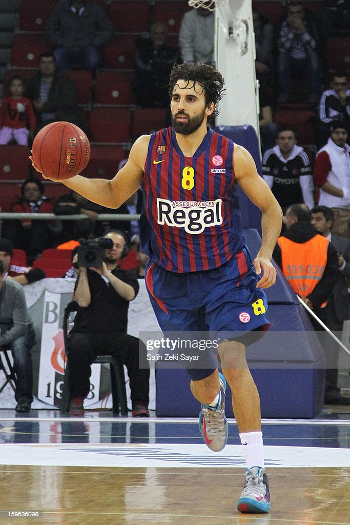 Victor Sada #8 of FC Barcelona in action during the 2012-2013 Turkish Airlines Euroleague Top 16 Date 4 between Besiktas JK Istanbul v FC Barcelona Regal at Abdi Ipekci Sports Arena on January 17, 2013 in Istanbul, Turkey.