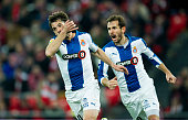 Victor Sanchez of RCD Espanyol celebrates after scoring during the Copa del Rey SemiFinal first leg match between Athletic Club and RCD Espanyol at...
