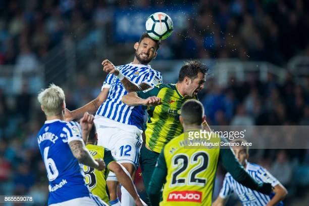 Victor Sanchez of RCD Espanyol duels for the ball with Willian Jose Da Silva of Real Sociedad during the La Liga match between Real Sociedad de...