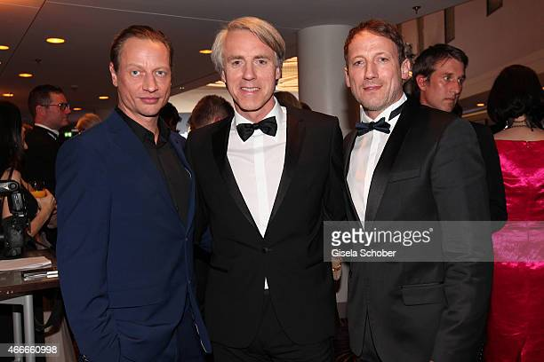 Victor Schefe Editor in chief of PEOPLE Magazine Germany Tom Junkersdorf and Wotan Wilke Moehring during the PEOPLE Magazine Germany launch party at...