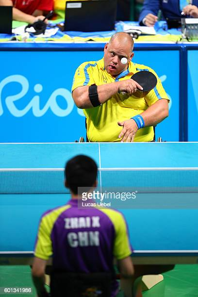 Victor Sjoqvist of Sweden competes in the men's singles Table Tennis Class 8 on day 2 of the Rio 2016 Paralympic Games at Riocentro Pavilion 3 on...