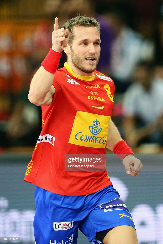 <a gi-track='captionPersonalityLinkClicked' href=/galleries/search?phrase=Victor+Tomas&family=editorial&specificpeople=3260334 ng-click='$event.stopPropagation()'>Victor Tomas</a> of Spain celebrates a goal during the eight final match between Spain and Tunisia at Lusail Multipurpose Hall on January 25, 2015 in Doha, Qatar.