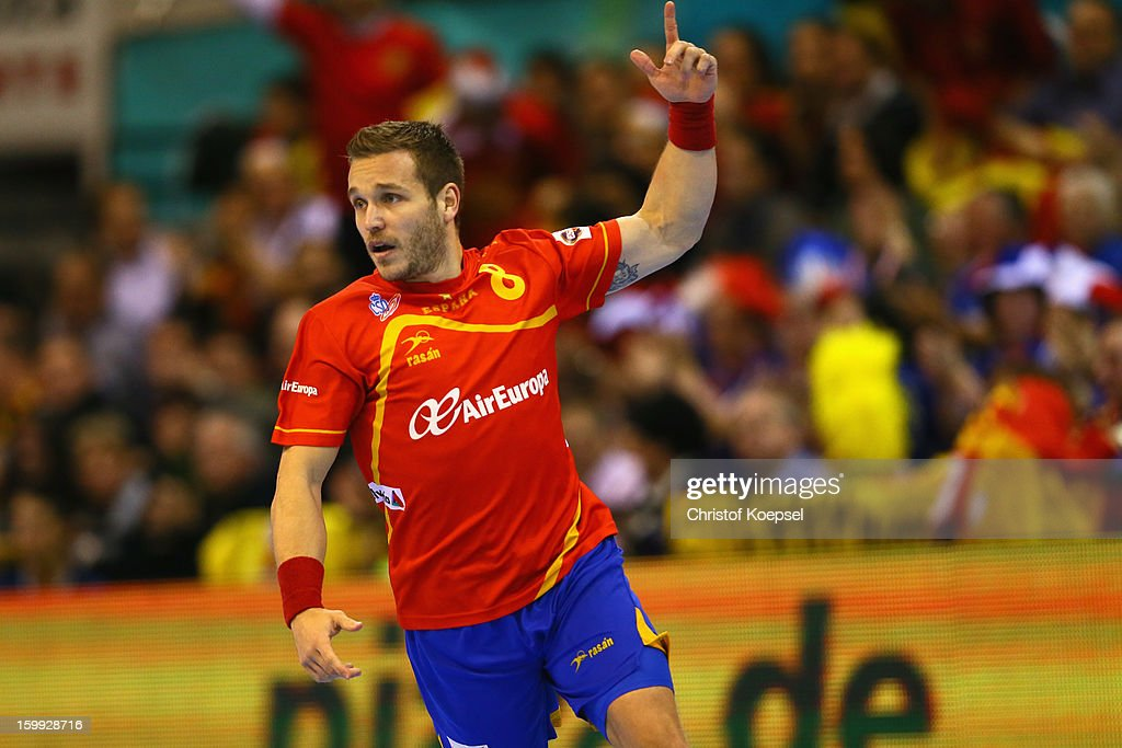 <a gi-track='captionPersonalityLinkClicked' href=/galleries/search?phrase=Victor+Tomas&family=editorial&specificpeople=3260334 ng-click='$event.stopPropagation()'>Victor Tomas</a> of Spain celebrates a goal during the quarterfinal match between Spain and Germany at Pabellon Principe Felipe Arena on January 23, 2013 in Barcelona, Spain.