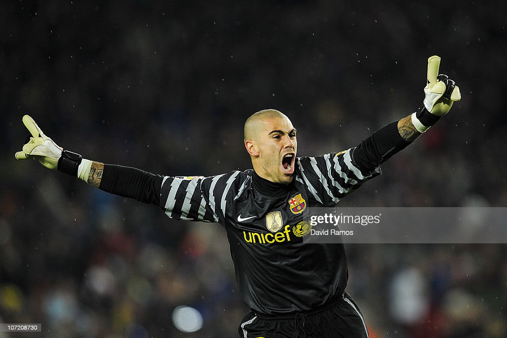 Victor Valdes of Barcelona celebrates after David Villa scored his second goal during the La Liga match between Barcelona and Real Madrid at the Camp Nou Stadium on November 29, 2010 in Barcelona, Spain. Barcelona won the match 5-0.