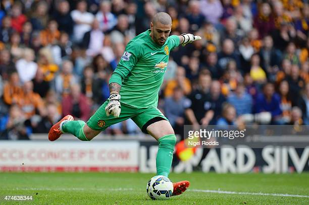 Victor Valdes of Manchester United in action during the Barclays Premier League match between Hull City and Manchester United at KC Stadium on May 24...