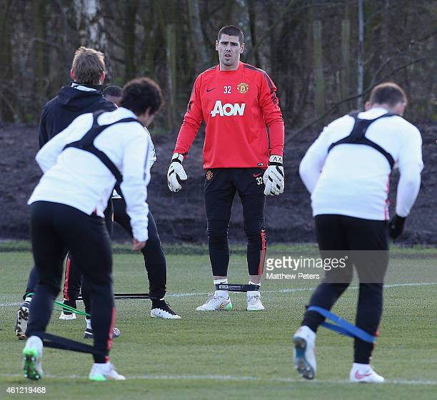 Victor Valdes of Manchester United squad in action during a first team training session at Aon Training Complex on January 9 2015 in Manchester...