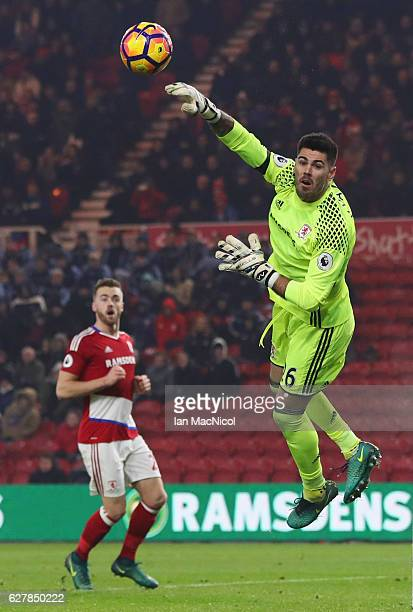 Victor Valdes of Middlesbrough makes a save during the Premier League match between Middlesbrough and Hull City at Riverside Stadium on December 5...