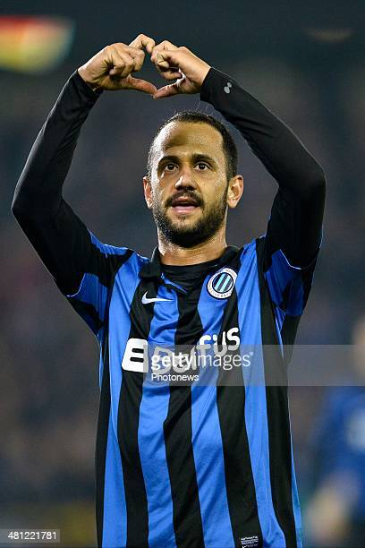 Victor Vazquez of Club Brugge celebrates scoring a goal during the Jupiler Pro League PlayOff 1 match between Club Brugge and Sporting Lokeren on...