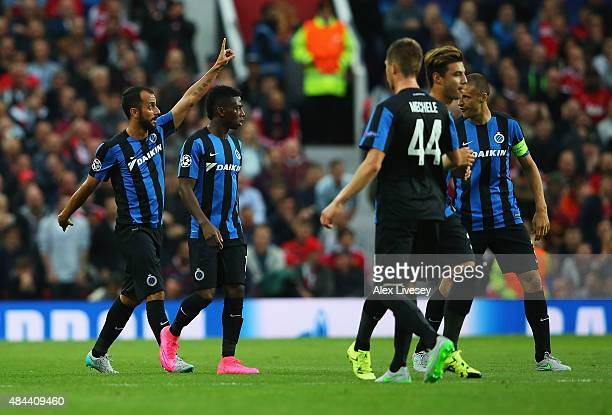 Victor Vazquez of Club Brugge celebrates the own goal scored by Michael Carrick of Manchester United during the UEFA Champions League Qualifying...
