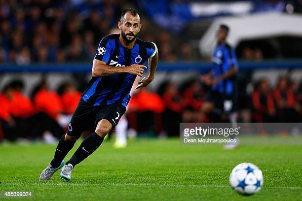 Victor Vazquez of Club Brugge in action during the UEFA Champions League qualifying round play off 2nd leg match between Club Brugge and Manchester...