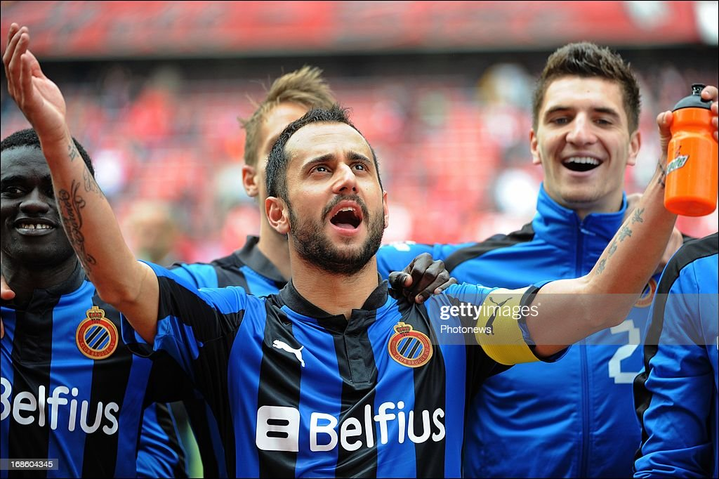 Victor Vazquez of Club Brugge KV celebrates the win pictured during the Jupiler League Play-offs 1 match between Standard Liege and Club Brugge , on May 12 , 2013 in Sclessin, Belgium