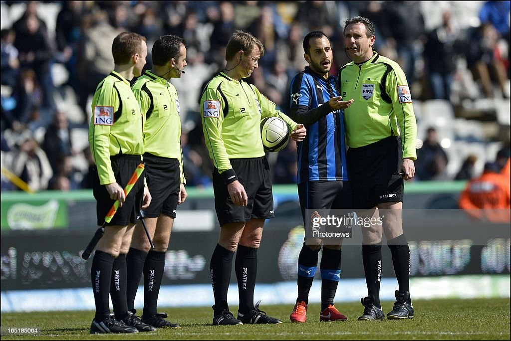 Victor Vazquez of Club Brugge KV in discussion with match officials during the Jupiler League match between Club Brugge and Standard de Liege on April 01, 2013 in the Jan Breydel Stadium in Brugge, Belgium.