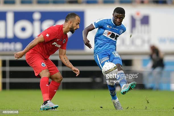 Victor Vazquez of Club Brugge Nana Asare of KAA Gent during the Belgium Supercup match between Club Brugge and AA Gent on July 16 2015 at the...