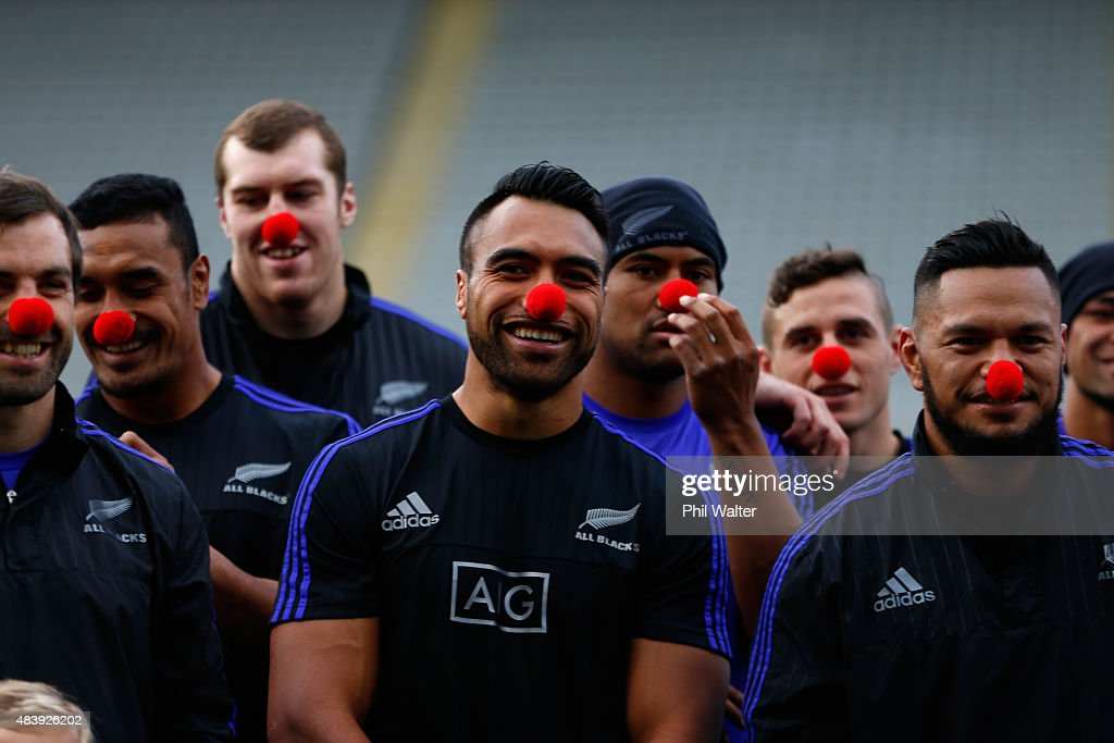 Victor Vito and the All Blacks wear red noses for charity during a New Zealand All Blacks Captain's Run at Eden Park on August 14 2015 in Auckland...