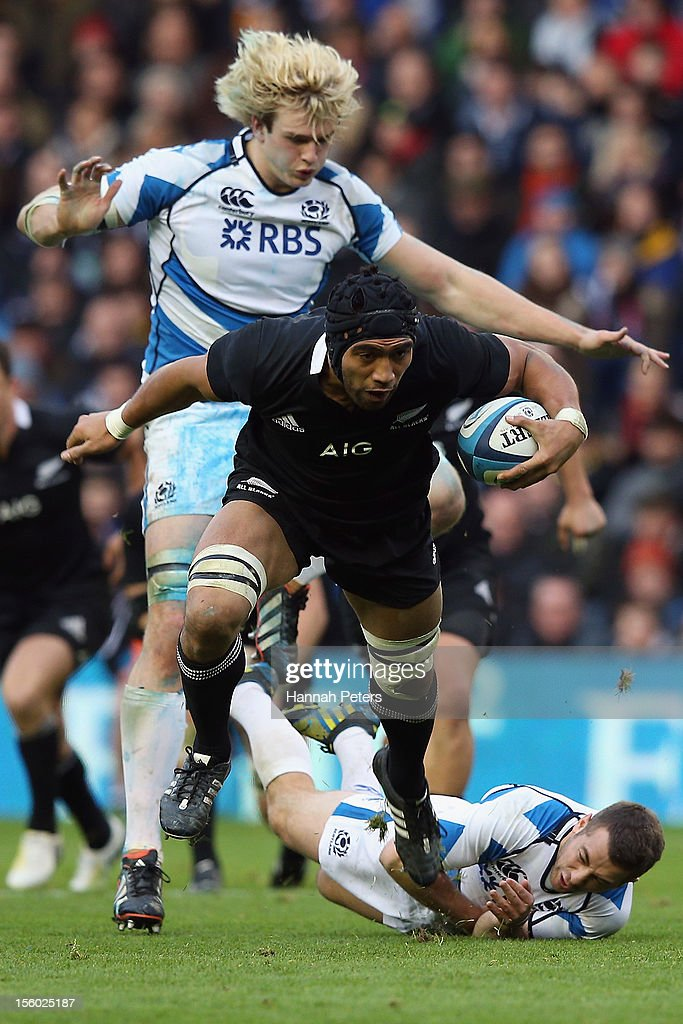 Victor Vito of the All Blacks charges forward during the international rugby match between Scotland and New Zealand at Murrayfield Stadium on...