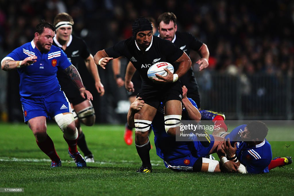 Victor Vito of the All Blacks charges forward during the Third Test Match between the New Zealand All Blacks and France at Yarrow Stadium on June 22...