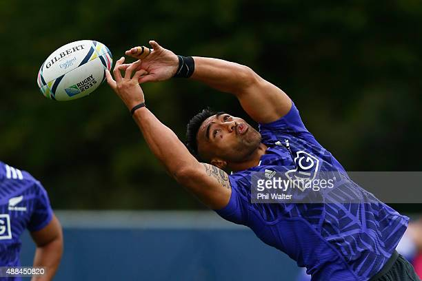 Victor Vito of the All Blacks collects a high ball during a New Zealand All Blacks training session at Lensbury on September 16 2015 in London United...