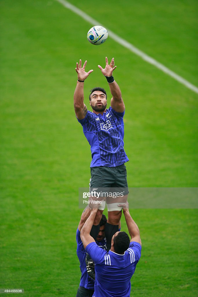 Victor Vito of the All Blacks leaps in the lineout during a New Zealand All Blacks training session at Pennyhill Park on October 27 2015 in Bagshot...