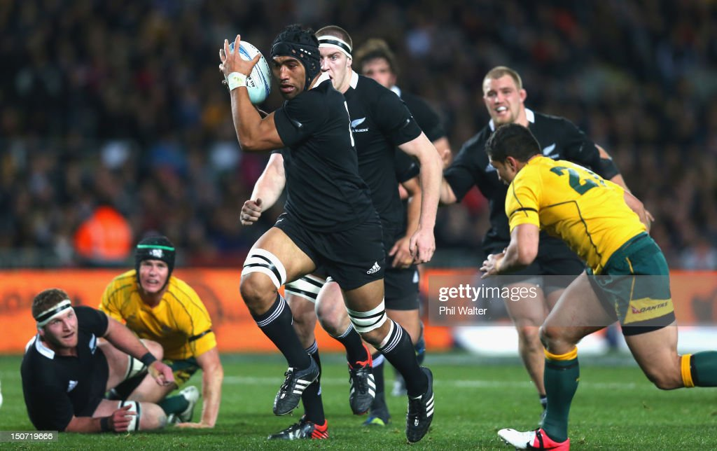 Victor Vito of the All Blacks runs the ball during The Rugby Championship Bledisloe Cup match between the New Zealand All Blacks and the Australian...