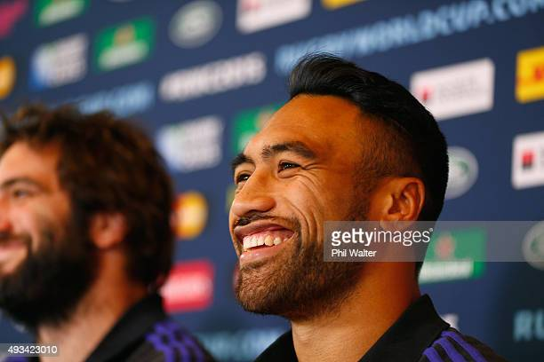 Victor Vito of the All Blacks speaks alongside Samuel Whitelock during a New Zealand All Blacks media session at the Oatlands Park Hotel on October...