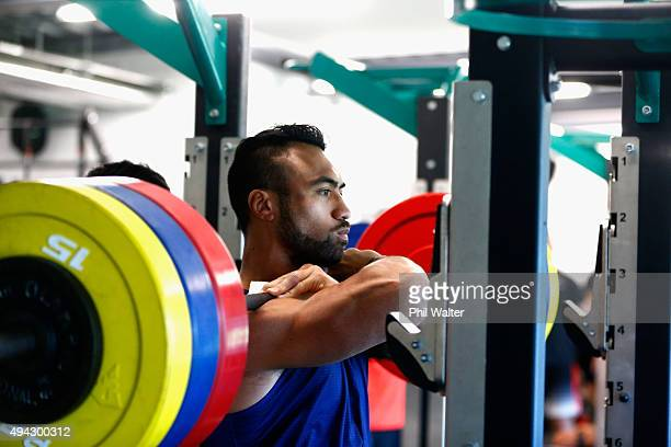 Victor Vito of the All Blacks squats during a New Zealand All Blacks training session at London Irish on October 26 2015 in Bagshot United Kingdom