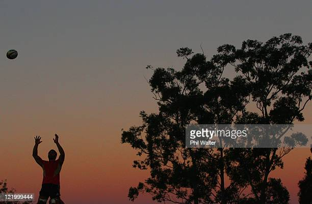 Victor Vito of the All Blacks takes the ball in the lineout during a New Zealand All Blacks training session at Churchie on August 25 2011 in...