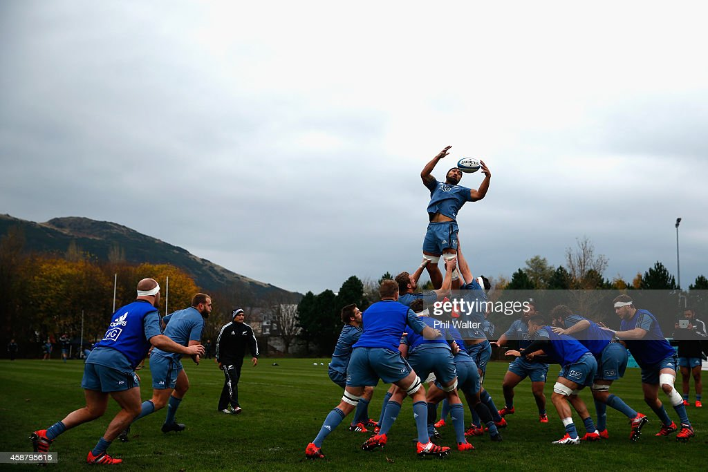 Victor Vito of the All Blacks takes the ball in the lineout during a New Zealand All Blacks training session at Peffermill on November 11 2014 in...