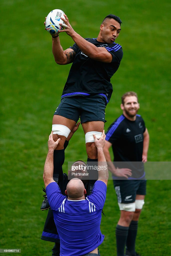 Victor Vito of the All Blacks takes the ball in the lineout during a New Zealand All Blacks Captain's Run at Pennyhill Park on October 30 2015 in...