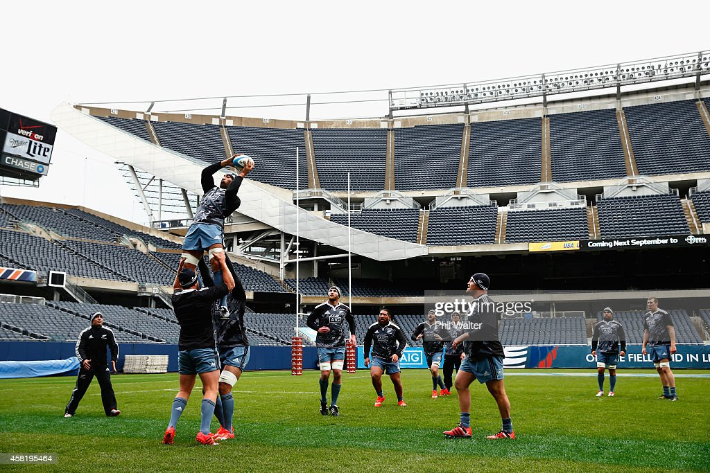 Victor Vito of the All Blacks takes the ball in the lineout during the New Zealand All Blacks Captain's run at Soldier Field on October 31 2014 in...
