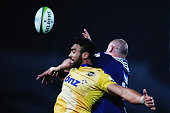 Victor Vito of the Hurricanes contests the lineout ball with Hayden Triggs of the Blues during the round 15 Super Rugby match between the Blues and...