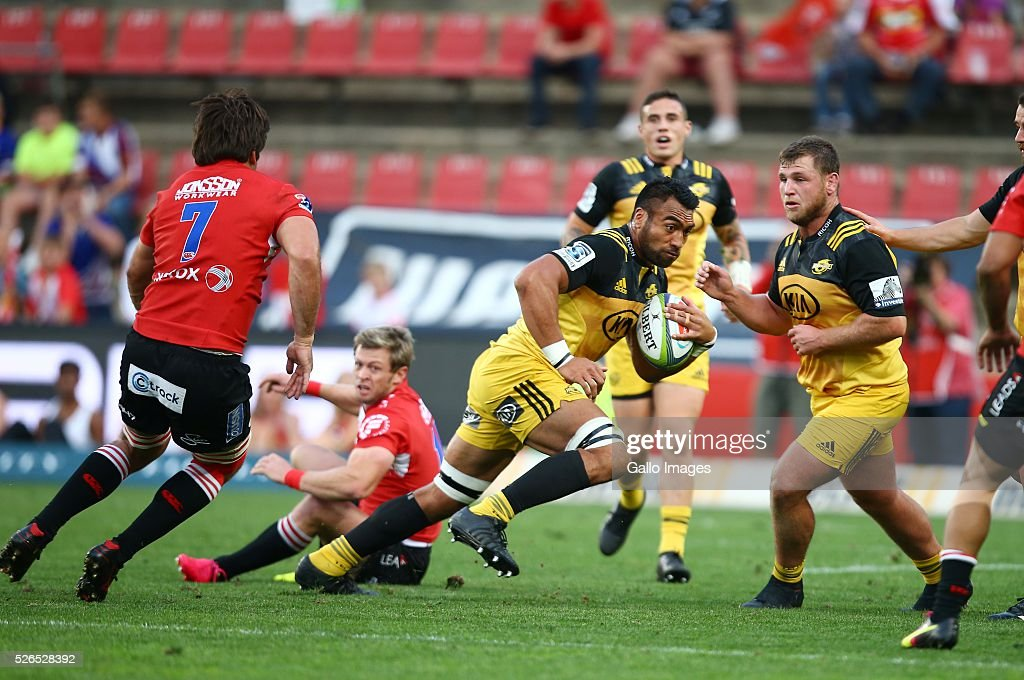 Victor Vito of the Hurricanes during the round 10 Super Rugby match between Emirates Lions and Hurricanes at Emirates Airline Park on April 30, 2016 in Johannesburg, South Africa.